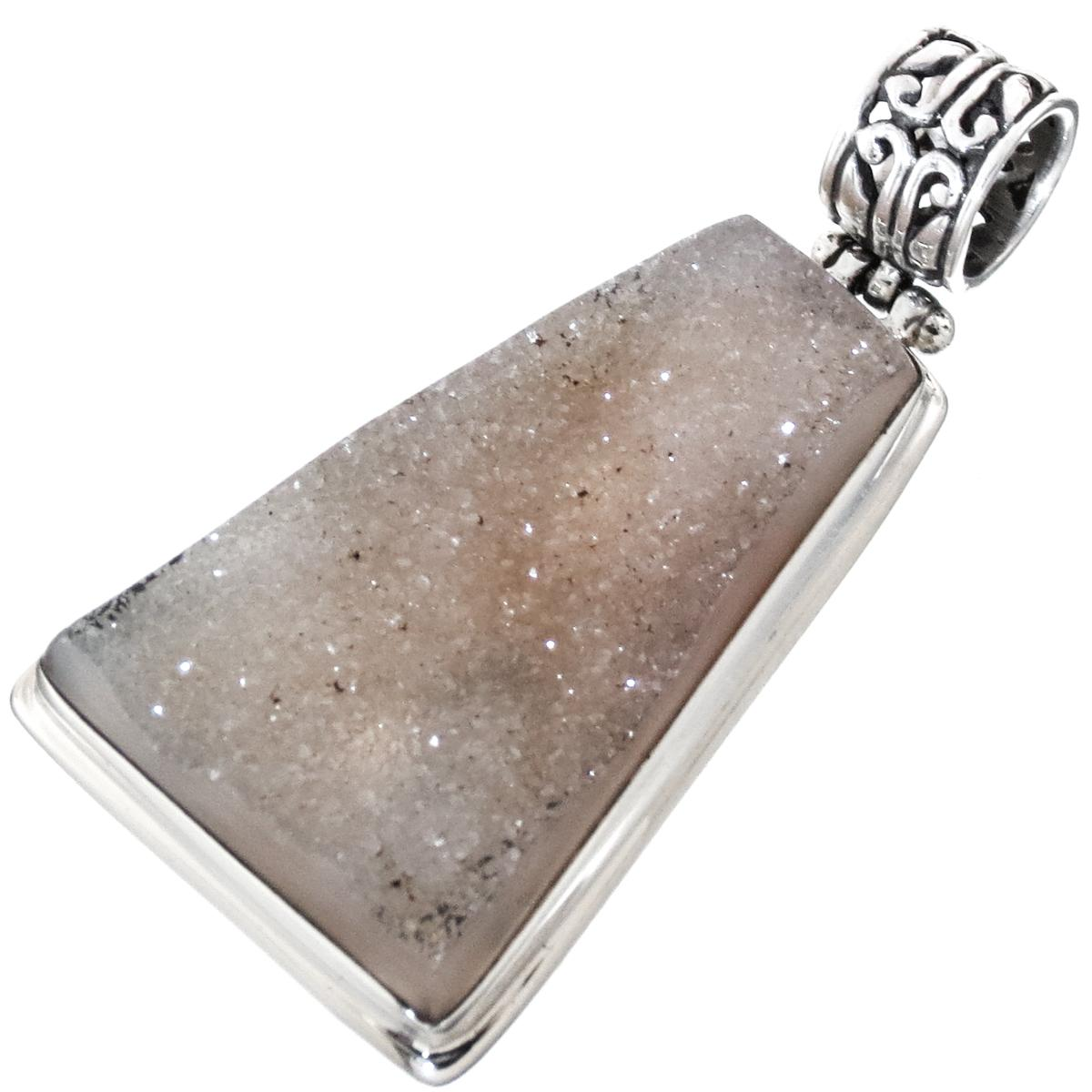 "Natural Sparkling Agate Druzy 925 Sterling Silver Pendant, 1 5/16"""