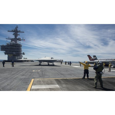 Atlantic Ocean May 14 2013   An X 47B Unmanned Combat Air System Demonstrator Taxies On The Flight Deck Of The Aircraft Carrier Uss George Hw Bush Poster Print