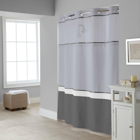 Hookless Windsor Color Block Polyester Shower Curtain
