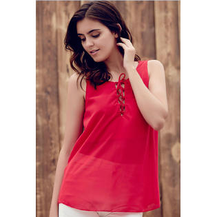 Women Round Neck Chiffon Comfort Tank Top Blouse Red