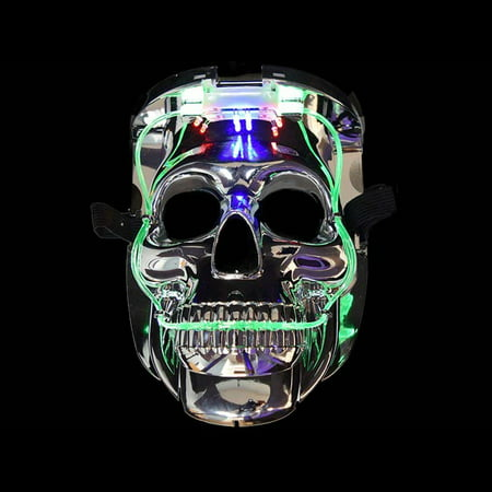 LED Color Changing Silver Chrome Skull Face Halloween Mask by Blinkee - Face Skull Halloween