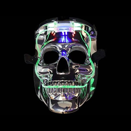 LED Color Changing Silver Chrome Skull Face Halloween Mask by Blinkee - Animal Skull Halloween Mask