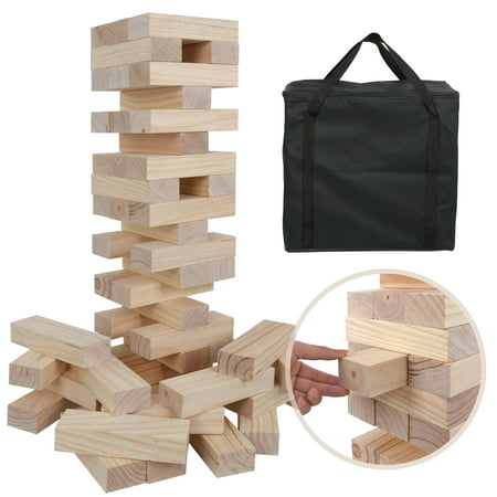 - Zeny 2.5-5 FT Tall Giant Toppling Tower Stacking Game Tumbling Timber Tower Jumbo Jenga Outdoor Yard Game - 54 Pieces Premium Pine Wood, Carry Bag
