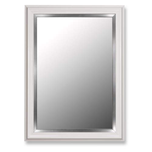Glossy White Petite and Stainless Wall Mirror