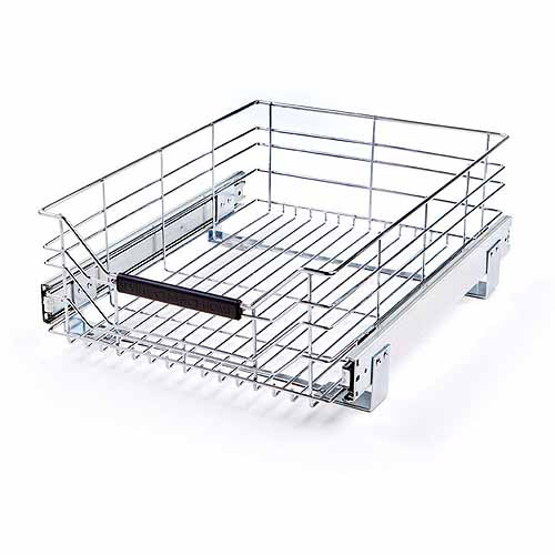 Seville Classics Chrome Wire Sliding Storage Drawer, SHE16228