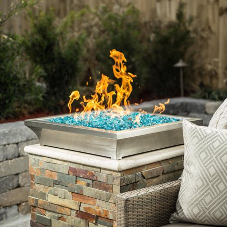 Lakeview Outdoor Designs Lavelle 18-Inch Square Low-Rise Natural Gas Column Fire Bowl