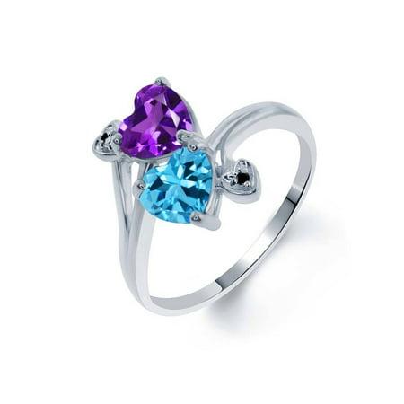 1.63 Ct Heart Shape Purple Amethyst Swiss Blue Topaz 925 Sterling Silver Ring
