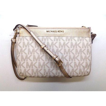 47cf8801e2 NWT MICHAEL KORS SIGNATURE JET SET VANILLA LARGE POCKET MESSENGER CROSSBODY  BAG - Walmart.com