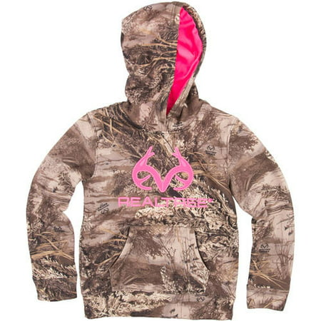 and Mossy Oak Girls Camo Performance Pullover Fleece Hoodie thumbnail