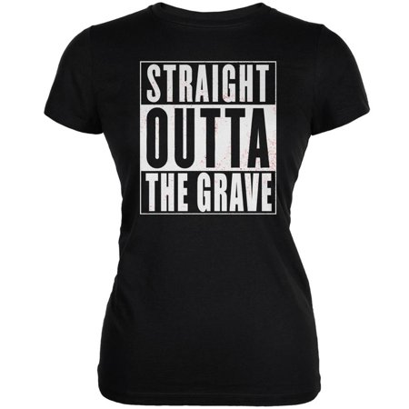 Halloween Straight Outta The Grave Black Juniors Soft T-Shirt (Grave Halloween Netflix)