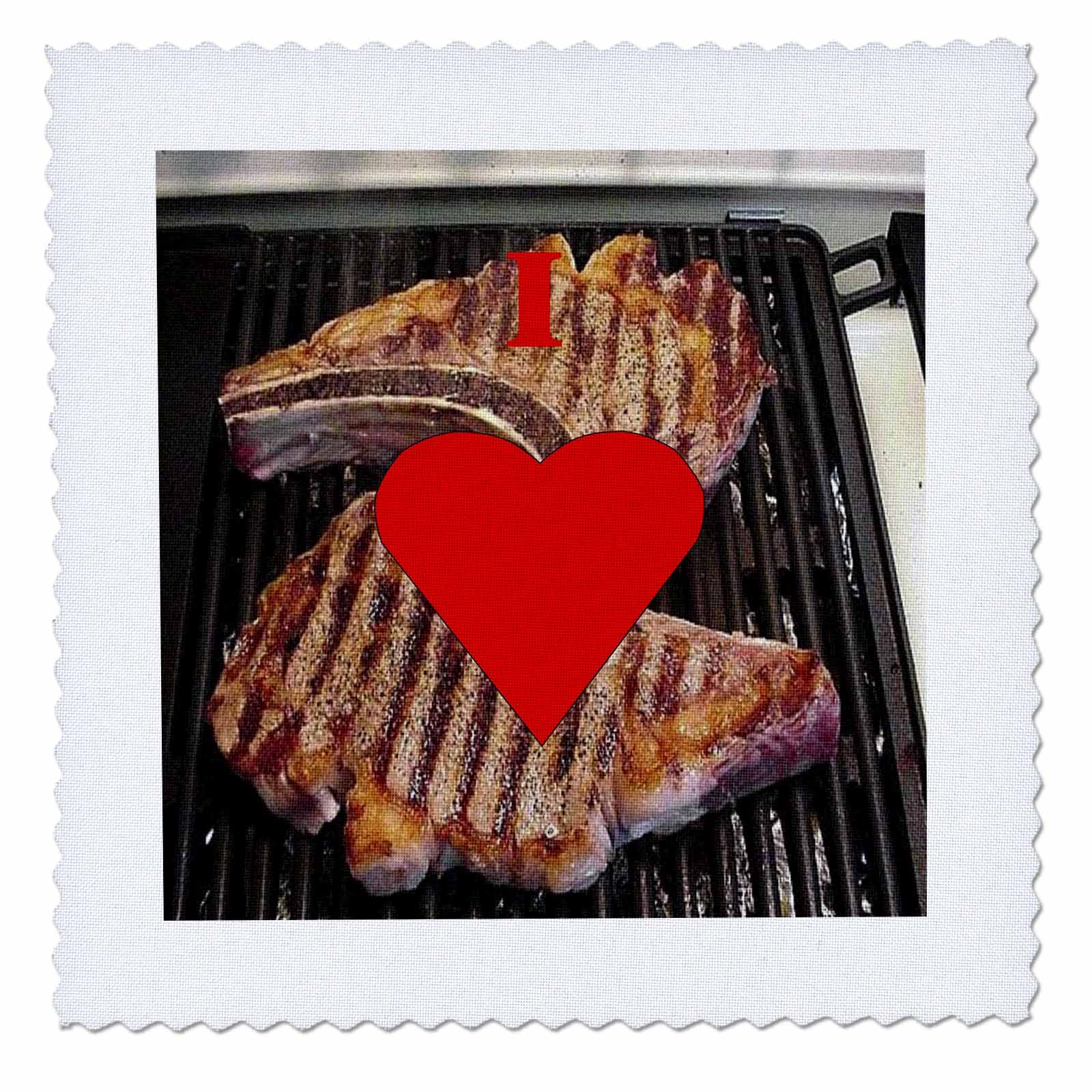 3dRose I Love Steak - Quilt Square, 8 by 8-inch