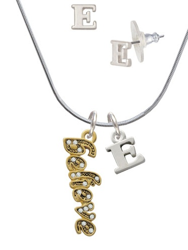 Gold Tone Script ''Believe'' with Clear Crystals E Initial Charm Necklace and Stud Earrings Jewelry Set by Delight and Co.