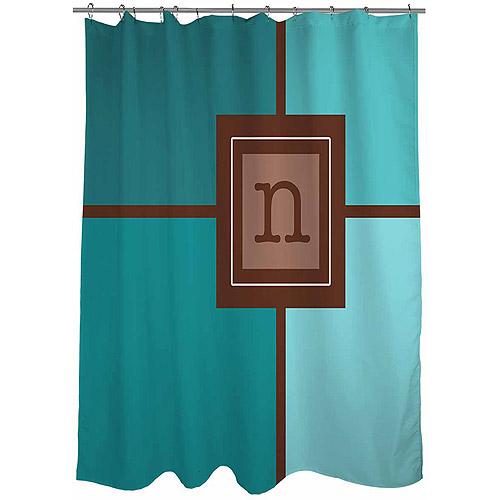 MWW, Inc. Thumbprintz Grid Monogram Shower Curtain, Teal