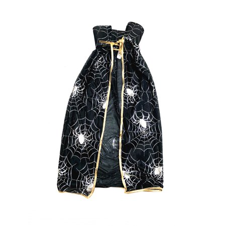 Mozlly Mozlly Black and Gold Spider Cape Toddler Costume for Kids Cute Outfit Party & Events Dress Up Cozy Blanket for Children Very Comfortable Fabric - Perfect Costume For Halloween - Halloween Food For Toddlers Party
