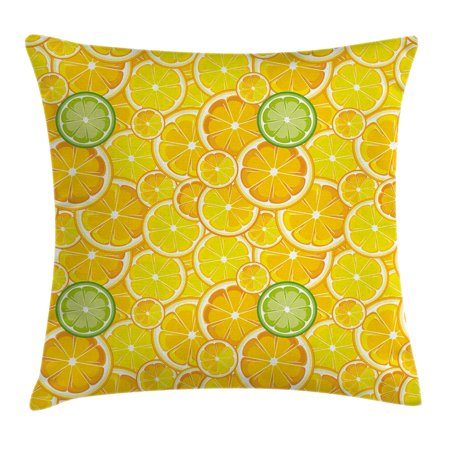 Yellow Decor Throw Pillow Cushion Cover Lemon Orange Lime Citrus