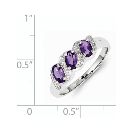 Sterling Silver Rhodium Amethyst & Diamond Ring - image 1 de 2