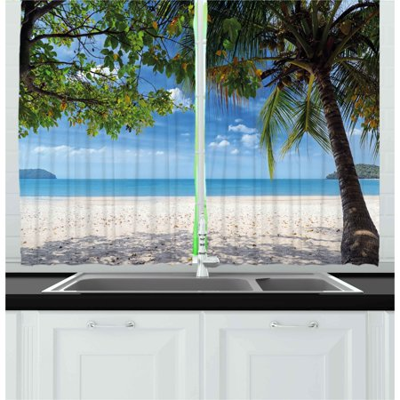 Summer Curtains 2 Panels Set, Tropical Beach Ocean behind Palm Tree Caribbean Exotic Holiday Image, Window Drapes for Living Room Bedroom, 55W X 39L Inches, Sky Blue Fern Green Beige, by Ambesonne - Caribbean Blue Color