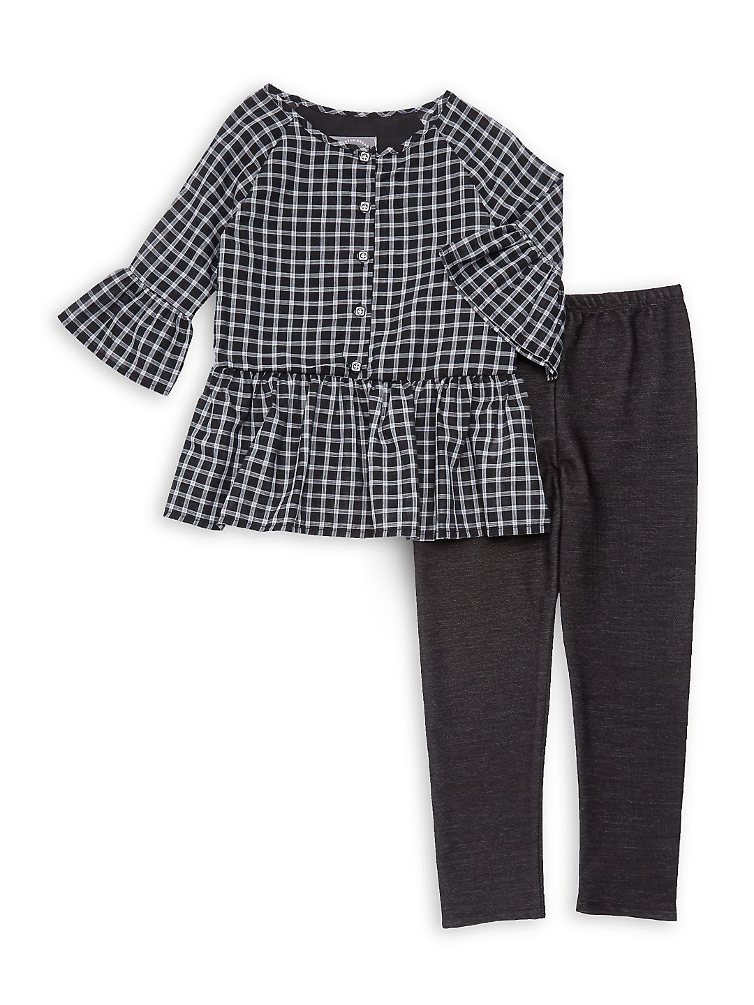Little Girl's Two-Piece Checkered Top & Pants Set