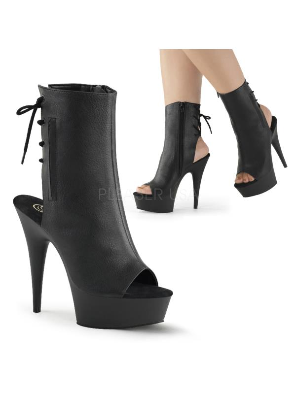 DEL1018/B/PU  Exotic Dancing Ankle/Mid-Calf Boots BLACK Size:10