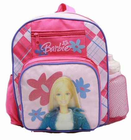 Small Backpack - Barbie - w/ Water Bottle - Pink Doll New School Bag 19358