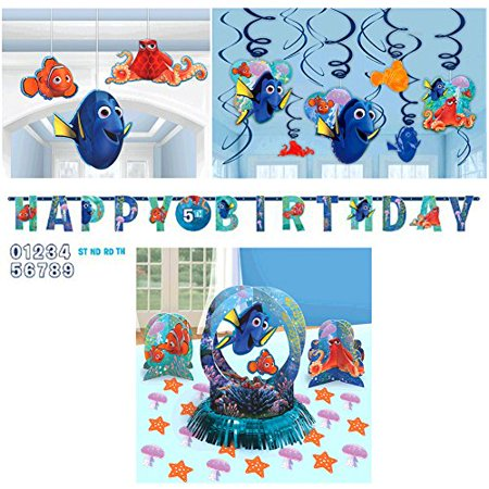 Finding Dory Decorations Party Supplies Pack Includes: Table Decorating Kit, Letter Banner, Hanging Swirls, and Hanging 3D Honeycomb Decorations (Finding Nemo Party Decorations)