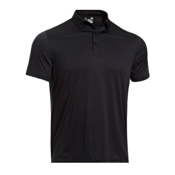 under armour 1237526 men's black soas coldback short sleeve polo shirt