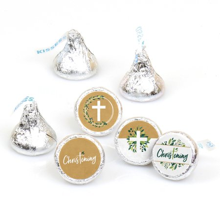 Christening  Elegant Cross - Religious Party Round Candy Sticker Favors - Labels Fit Hershey's Kisses (1 Sheet of 108)