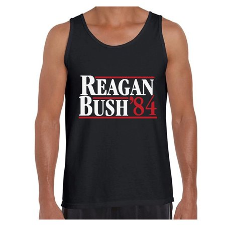 Awkward Styles Reagan Bush 84 Tank Top for Men Retro Presidential Campaign Tank Funny July 4 Outfit Ronald Reagan Bush Sleeveless Shirt for Men Republican Gifts for Him Retro Reagan Bush 84 Tank Anti Bush Tee Shirts
