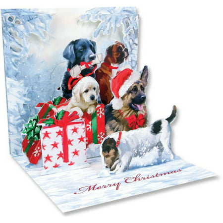 Up With Paper Christmas Dogs Pop-Up Christmas Card - Easy Halloween Pop Up Cards