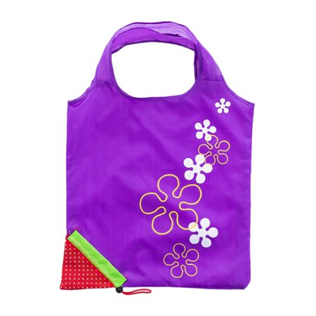 Cute Strawberry Design Foldable Polyester Shopping Bag Environment Handle Bag - image 2 of 7