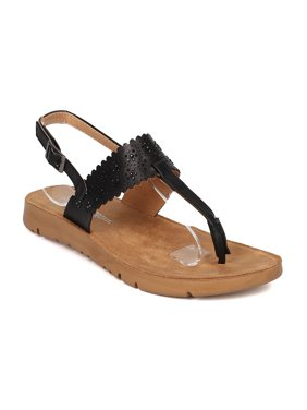 7a34f35aa Product Image Women Leatherette T-Strap Rhinestone Slingback Footbed Sandal  GI79