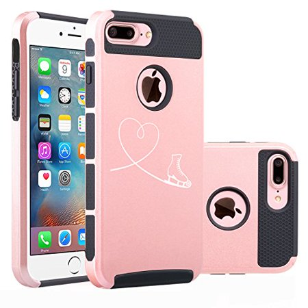 For Apple iPhone (7 Plus) Shockproof Impact Hard Soft Case Cover Heart Love Ice Skating (Rose Gold-Black) (Iphone 4s Ice Skating Case)