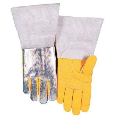 High Heat Welding Gloves, Top Grain Cowhide, Large, Buck Tan