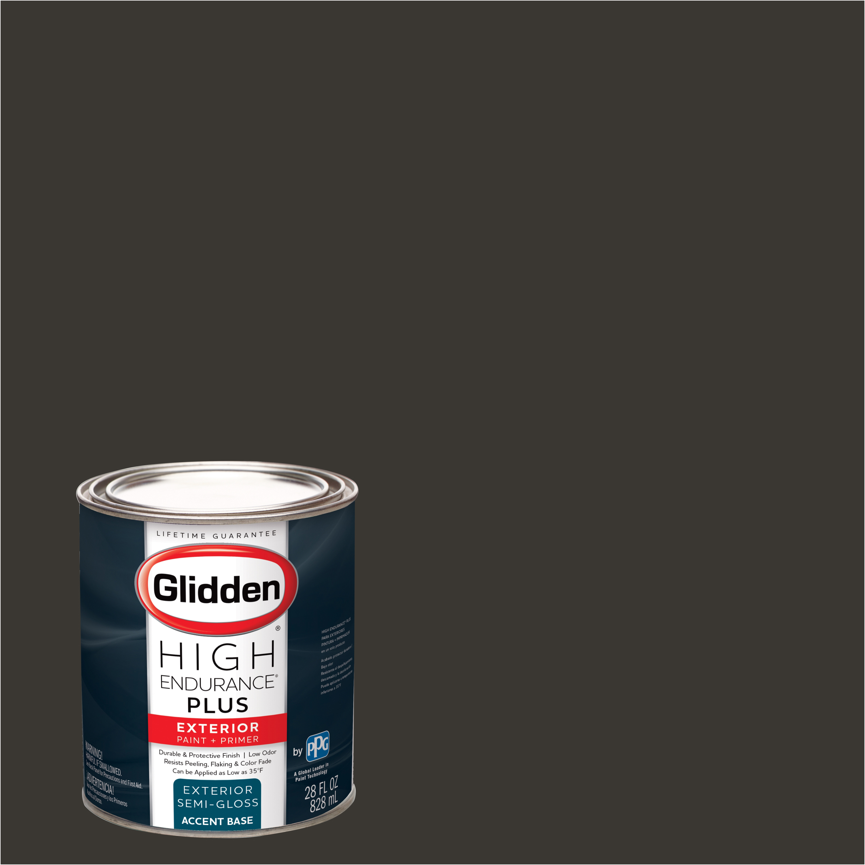 Glidden High Endurance Plus Exterior Paint and Primer, Western Charcoal, #50YR 06/041