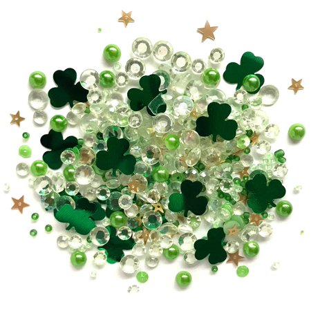Buttons Galore Sparkling Gemstone Craft Embellishments 500 Pc - Lucky Charmz - Set of 3 Packs