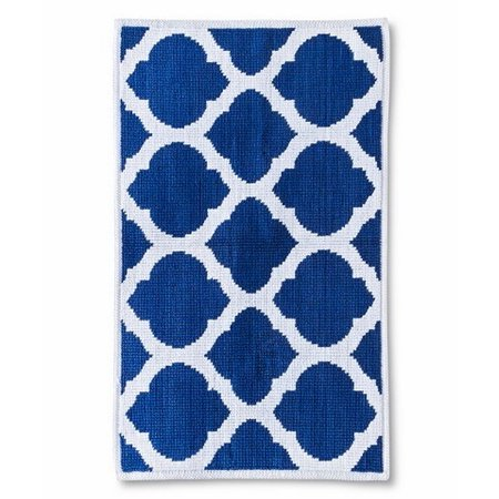 Threshold Cotton Bath Mat Rug Blue Amp White Geometric