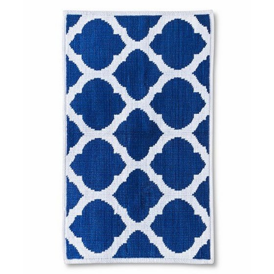 Threshold Bathroom Rugs: Threshold Cotton Bath Mat Rug Blue & White Geometric