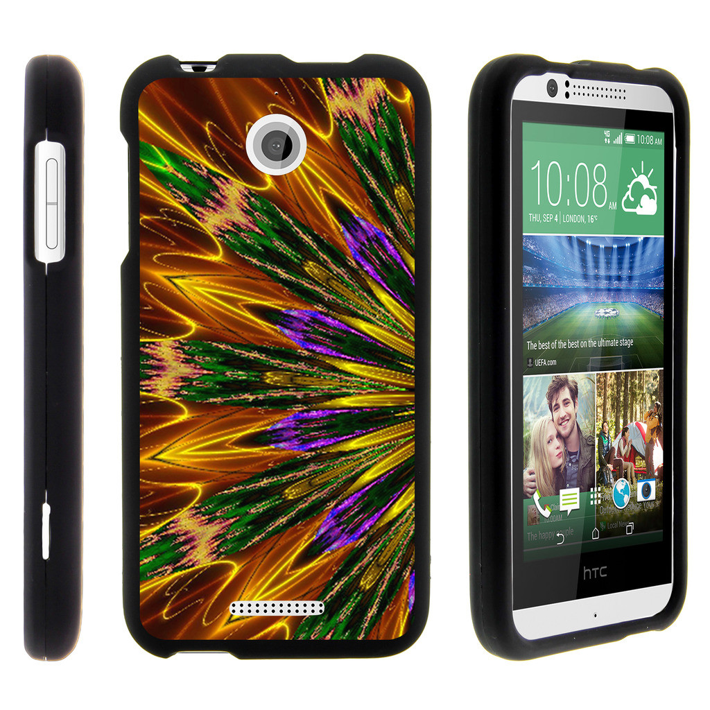 HTC Desire 510, [SNAP SHELL][Matte Black] 2 Piece Snap On Rubberized Hard Plastic Cell Phone Cover with Cool Designs - Kaleidoscopic Phoenix