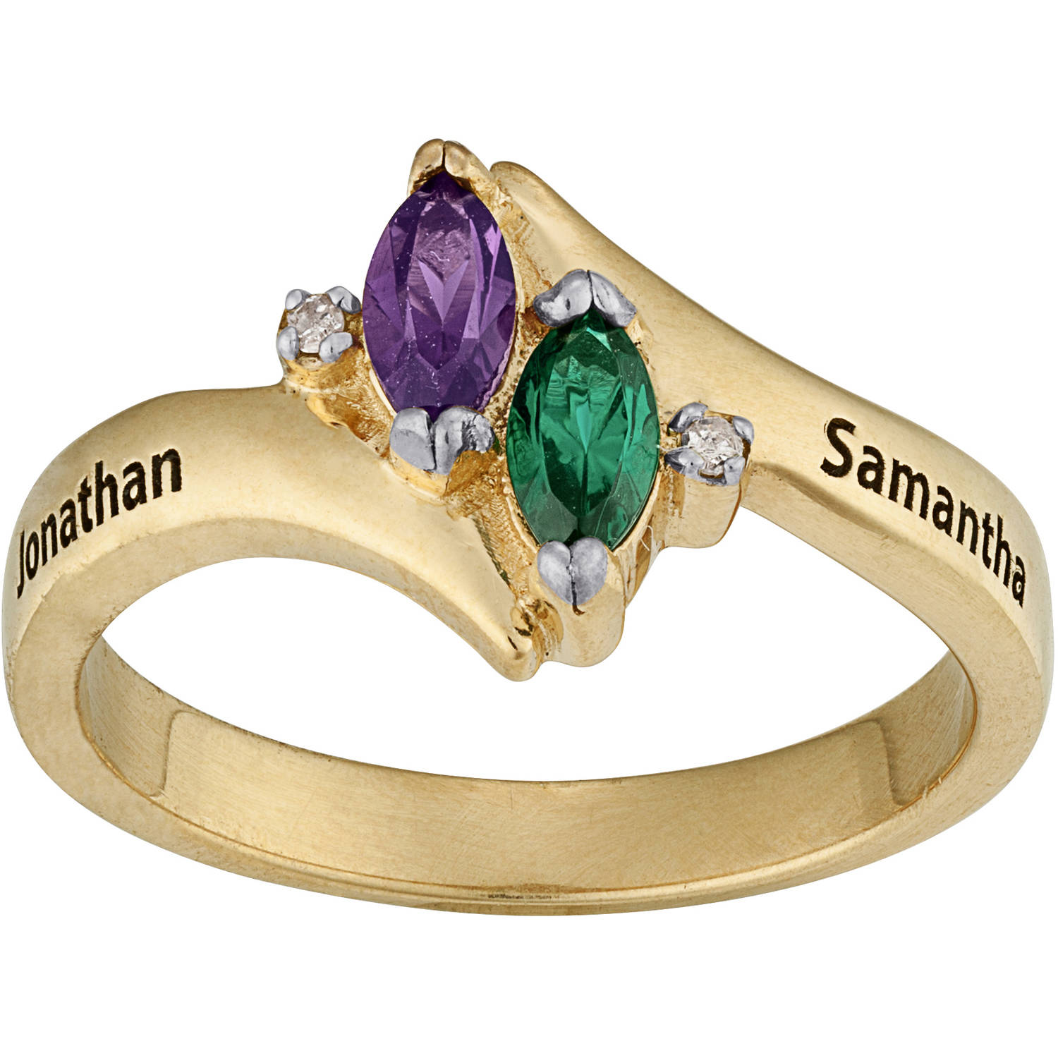 Personalized Couples Marquise Birthstone Name Ring with Diamond Accent