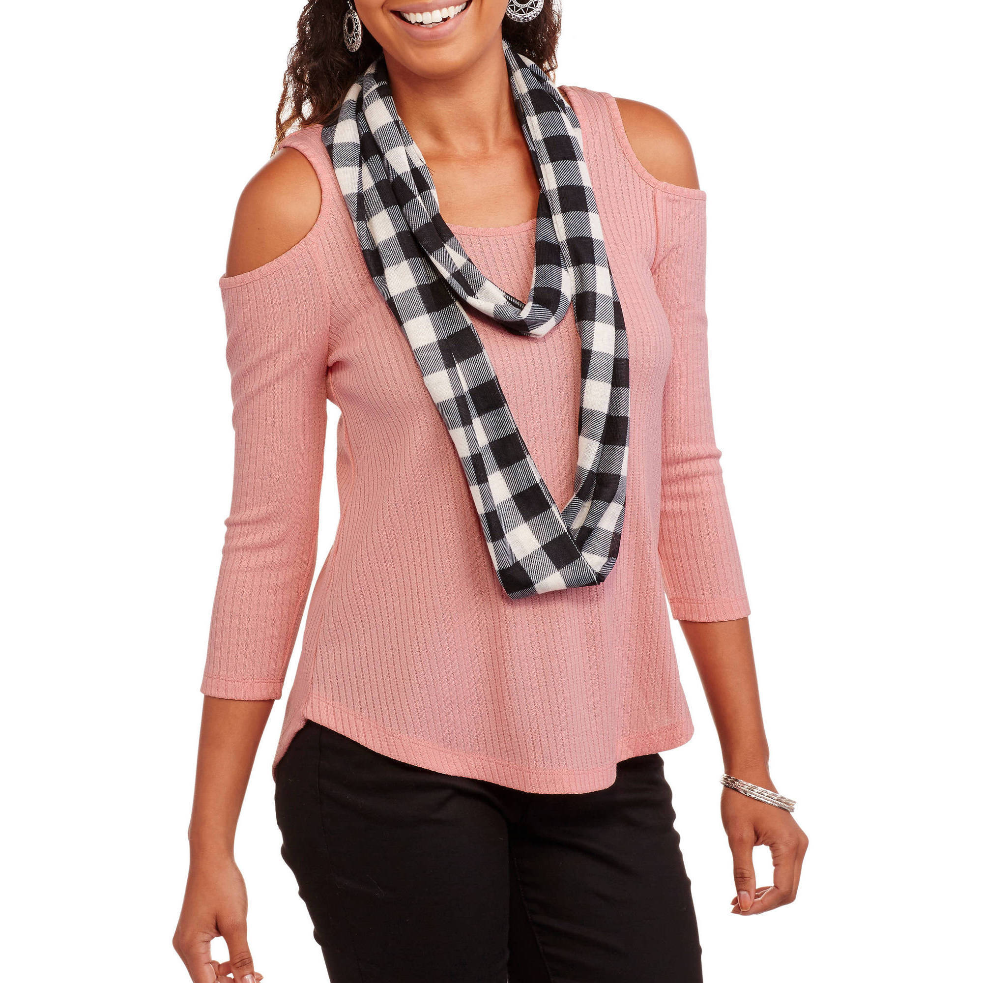 Self Esteem Juniors' Cold Shoulder Ribbed Top with Scarf 2fer