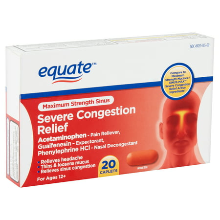 Equate Maximum Strength Sinus Severe Congestion Relief Caplets, For Ages 12+, 20