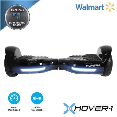 Hover-1 Superstar UL Certified Electric Hoverboard w/ 6.5 Wheels, LED Lights, Bluetooth Speaker, and App Connectivity - - Black Anodized Wheel