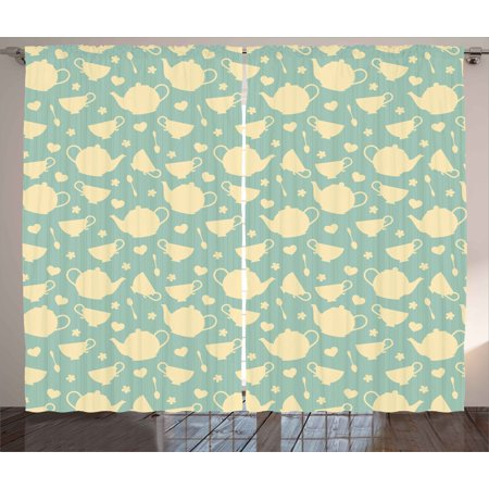 Tea Curtains 2 Panels Set, Tea Cup and Teapot Elements in Nostalgic British English Tradition Print, Window Drapes for Living Room Bedroom, 108W X 63L Inches, Pale Yellow Turquoise, by Ambesonne](Halloween Traditions In Britain)
