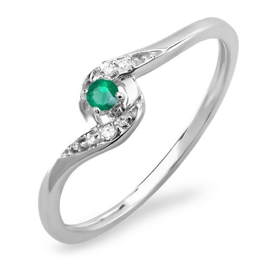 0.08 Carat (ctw) 14k White Gold Round White Diamond & Green Emerald Ladies Bridal Engagement Ring 1/10 CT