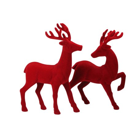 """Set of 2 Red Textured Standing Reindeer Christmas Tabletop Decoration 18"""" ()"""