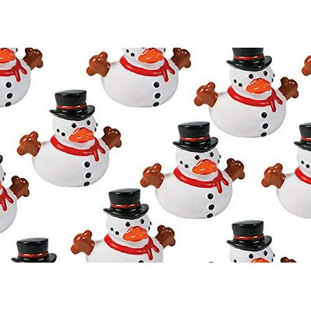 Snowman Rubber Duckies - Cute Winter Snow Man Duck Party Favors (1 - Snowman Favors