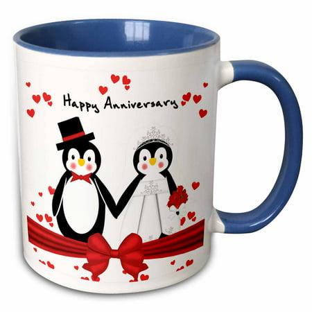 Happy Penguin (3dRose Red Hearts Happy Anniversary Penguin Wedding Couple - Two Tone Blue Mug,)