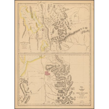 LAMINATED POSTER Map of the Great Salt Lake and Adjacent Country in the Territory of Utah [with] The Great Salt Lake (Mormon) City And Surrounding Country POSTER PRINT 24 x