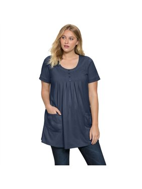 c7b22bcfe4a89 Product Image Roaman s Plus Size Two-pocket Trapeze Tunic