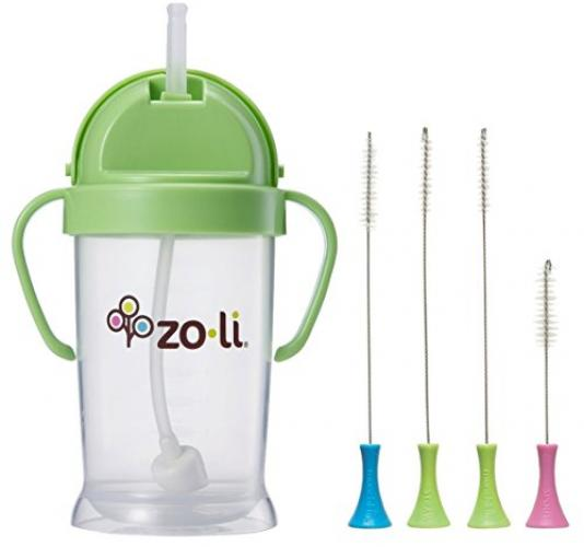 Zoli Bot Straw Sippy Cup 9oz. with Sippy Cup Cleaner - Green